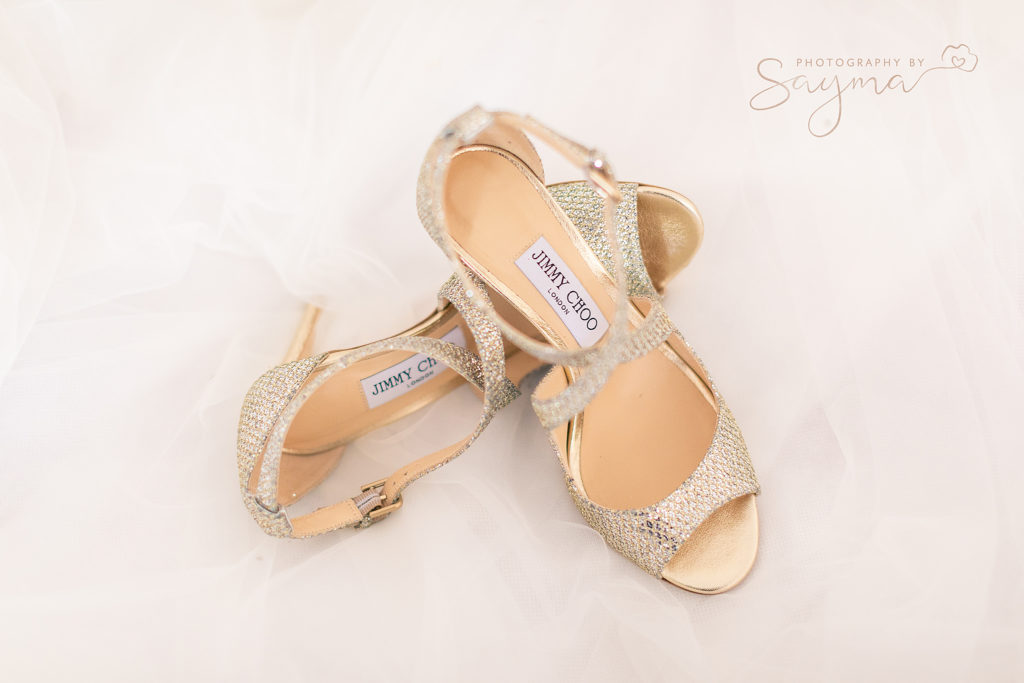 jimmy choo wedding shoes for bride photographed by weddinh photographer Sayma